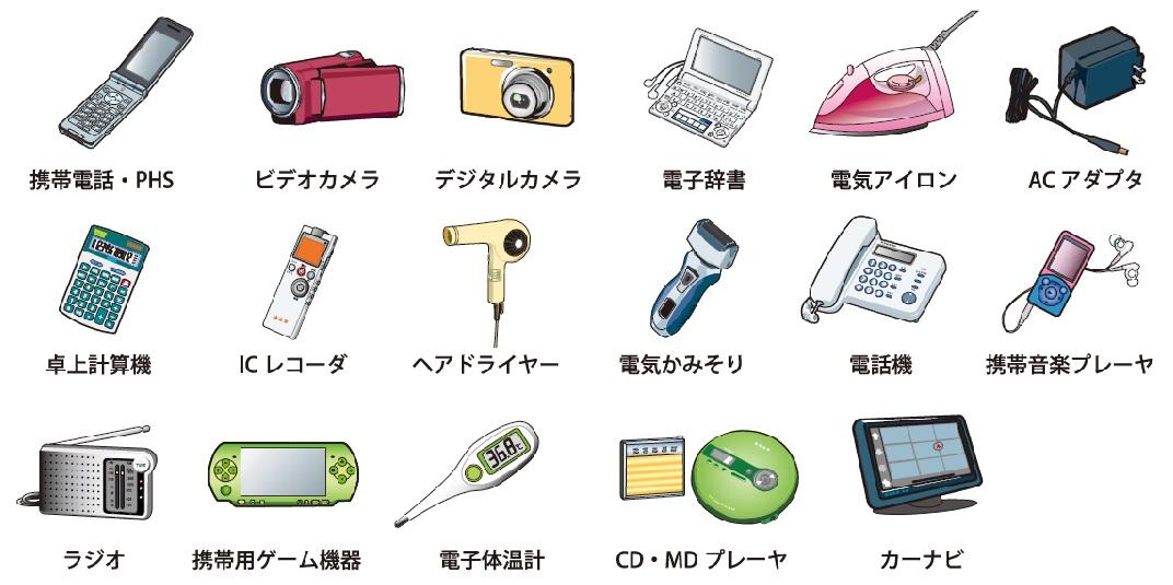 小型家電回収対象17品目
