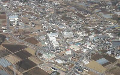 八千代中央土地区画整理事業区域の航空写真